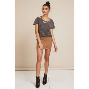 Tan Distressed Ribbed Mini Skirt